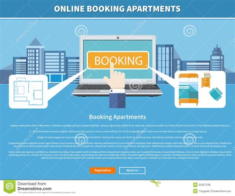 booking com appartments online booking apartments stock vector image 53427538