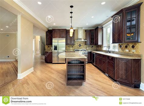 kitchen island construction kitchen and island in new construction home royalty free