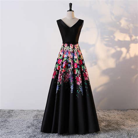 black satin floral print evening dresses long