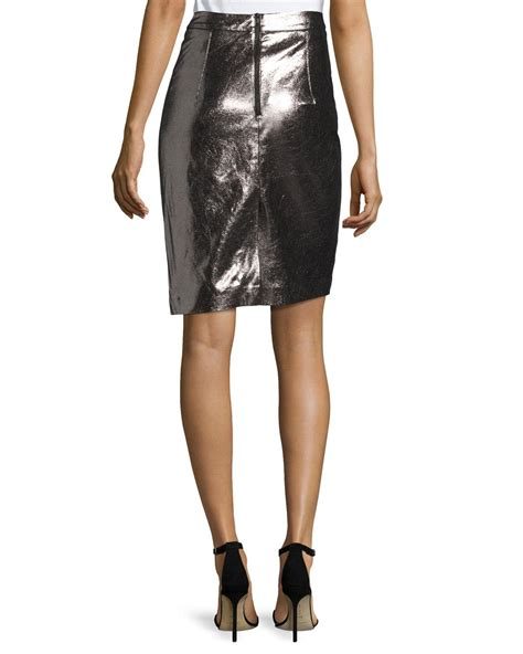 milly metallic leather pencil skirt lyst