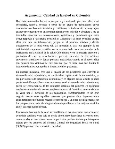 2 ensayos ii letras calam 233 o ensayo sobre la calidad de la salud en colombia