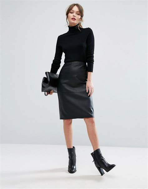 new look faux leather pencil midi skirt in black lyst