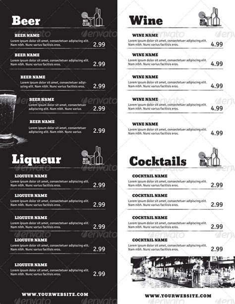 bar drink menu template 20 beautiful food menu templates for printing