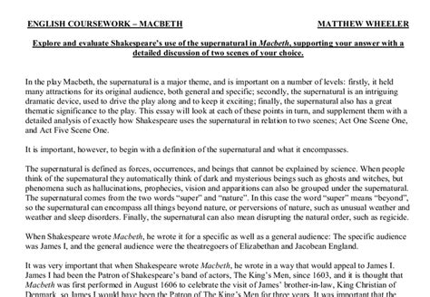 Macbeth Supernatural Essay by Macbeth Introduction Essay Macbeth Imagery Essay Macbeth Essay Introduction Macbeth Essay