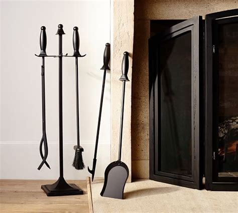 Fireplace Log Holder And Tool Set by Pb Classic Fireplace Log Holder Tool Set Pottery Barn