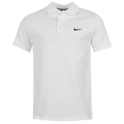 nike pique polo shirt top mens white sports top t