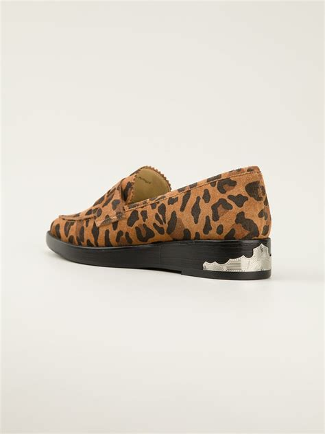 leopard print loafers toga pulla leopard print loafers in animal yellow