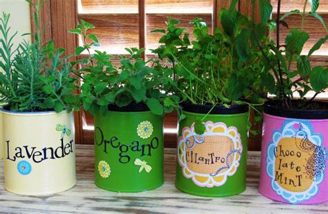 easy garden crafts easy crafts tin can herb garden