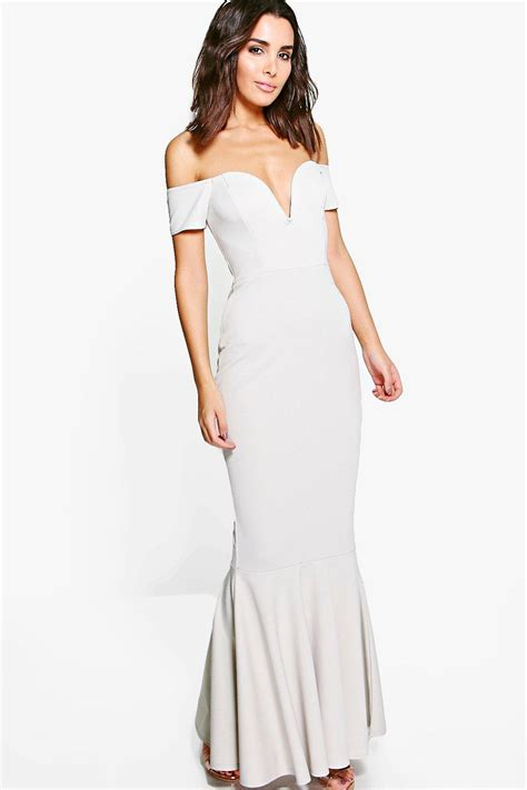 Malin Maxi marlin the shoulder fish maxi dress at boohoo