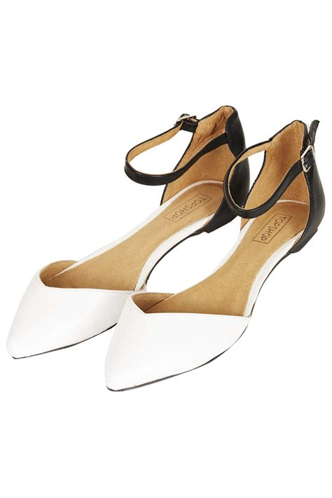 topshop marnie 2 part point shoes in white black white