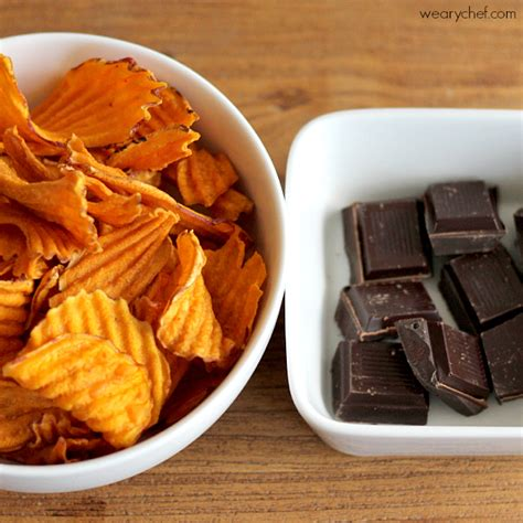 My Guilty Pleasure Side Potato Chips by Chocolate Covered Sweet Potato Chips The Weary Chef