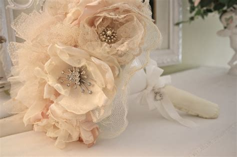 Handmade Wedding Bouquet Ideas - the polka dot closet fabric flower bridal bouquet