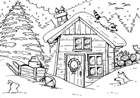 winter hut coloring page  printable coloring pages