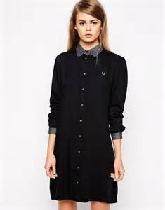 fred perry fred perry long sleeved shirt dress at asos