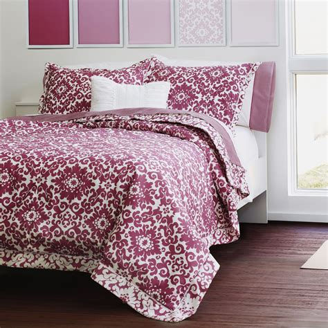 springmaid leandra red violet reversible mini comforter set