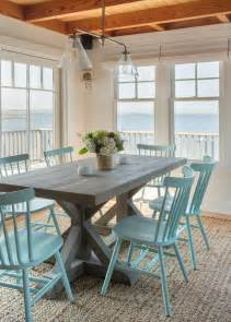 bench seating dining room coastal dining room with beachy blue dining chairs hgtv