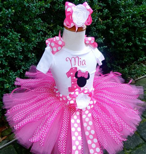 Minnie With Ribbon Tutu Dress pink minnie mouse personalized ribbon 1st 2nd 3rd