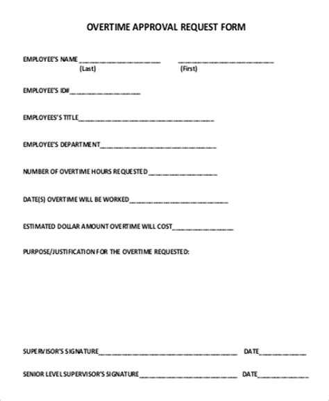 employment authorization form exle 9 sle overtime request forms pdf word sle