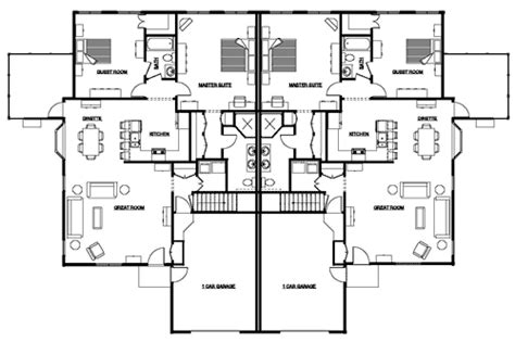 house plans for duplexes with garage