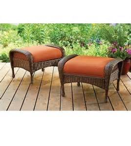 Patio Swing With Leg Rest Outdoor Wicker Ottoman All Weather Patio Furniture Garden