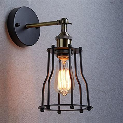 wire cage l shade industrial edison vintage wall sconce l light wire cage