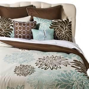bedding target anya 8 floral print bedding set blue brown target
