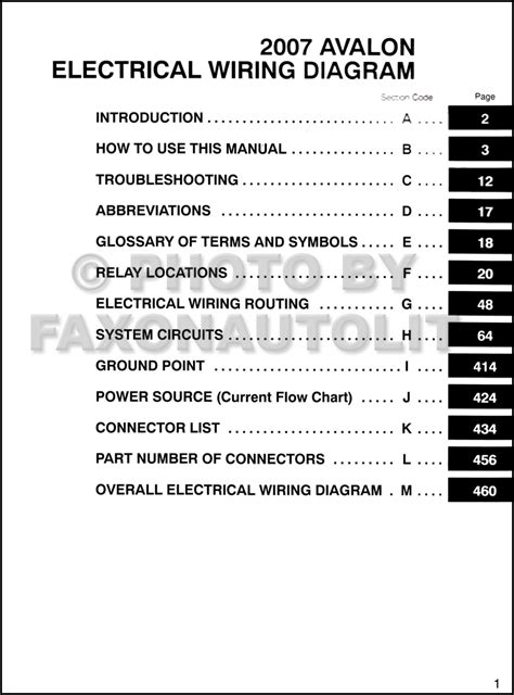 2007 Toyota Avalon Wiring Diagram Manual Original