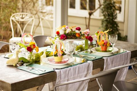 table scapes floral easter tablescape