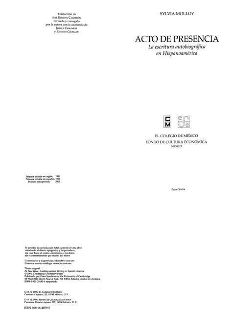 AAAA Molloy, Silvia - Acto de presencia La Escritura
