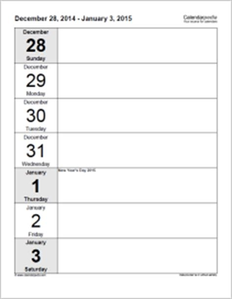 lulu template weekly calendar 2015 for excel 5 free printable templates