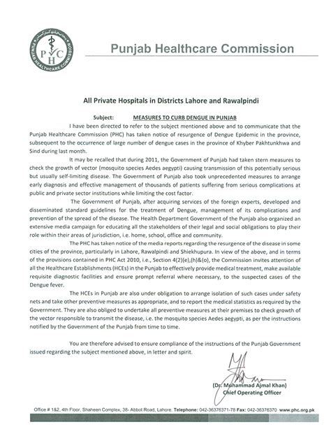 Official Letter Format Pakistan Welcome To Punjab Healthcare Commission