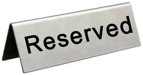 reserved table sign stainless steel restaurant wedding