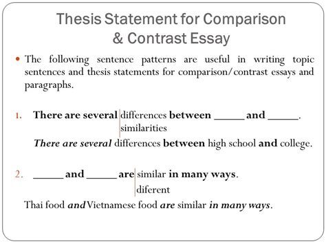 Thesis Statement For A Compare And Contrast Essay by Comparison Contrast Essay Ppt