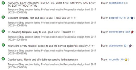 ebay feedback templates template ebay auction listing professional mobile