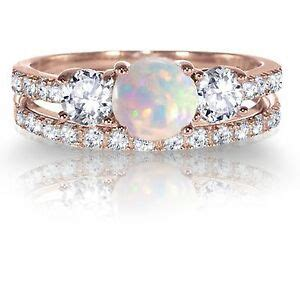 14k rose gold plated fire opal engagement wedding silver