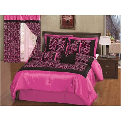 zebra comforter set full grand linen 8pcs hot pink black satin zebra flocking