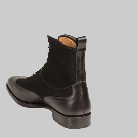 Mens Handmade Leather Boots - handmade mens black color ankle leather boot mens wing