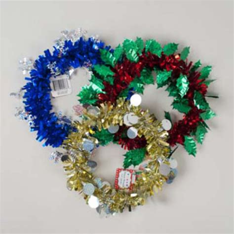 wholesale christmas tinsel wreath 9 5 quot diameter sku