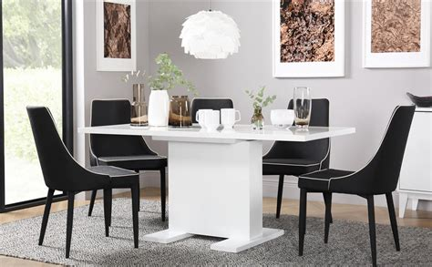 Black Gloss Dining Table And 6 Chairs Osaka White High Gloss Extending Dining Table With 6 Modena Black Chairs Only 163 649 99