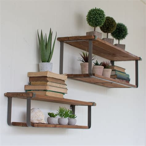 kalalou wood metal shelf set 2 cq6915