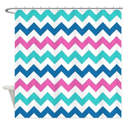 turquoise and red curtains turquoise navy and pink chevrons shower curtain by