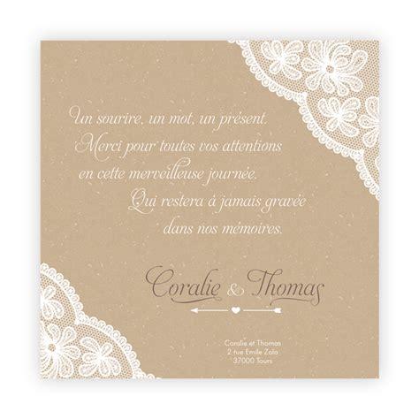 Exemple De Lettre De Remerciement Pour Mariage Carte De Remerciement Mariage Effet Nappe Dentelle Sur Camel N13c242 Faire Part De