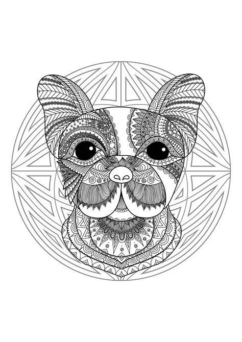 Complex Mandala coloring page with cute little dog head 2