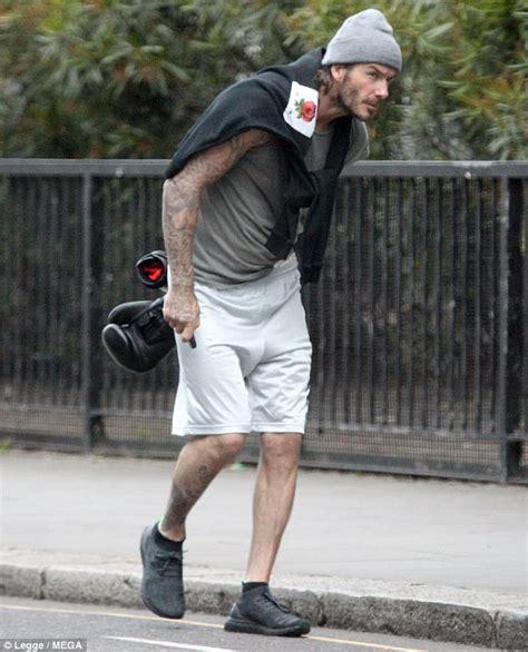 david beckham tattoo leg david beckham reveals buff body as he leaves boxing class