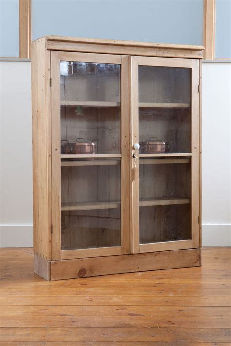 Antique Pine Display Cabinet With Glass Front   Display