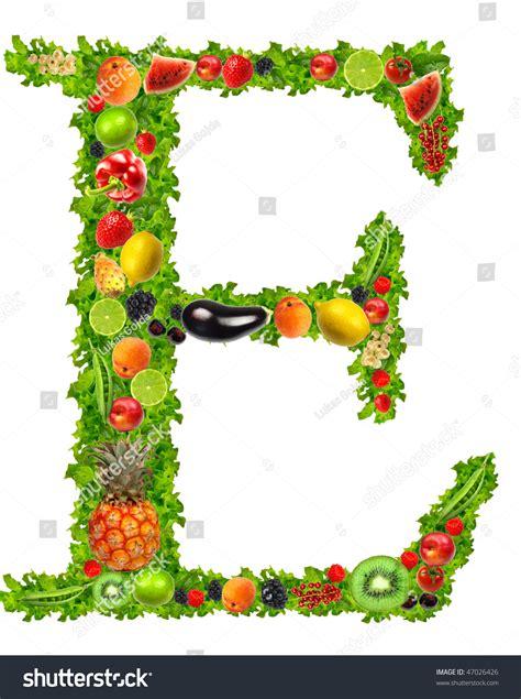 vegetables e fruit and vegetable letter e stock photo 47026426