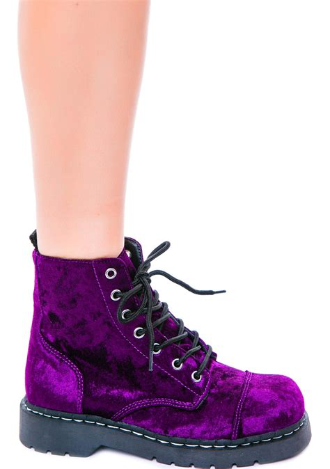 t u k crushed velvet 7 eye boot dolls kill
