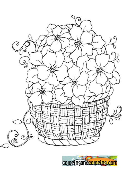 coloring pages of flower baskets basket of flowers coloring page coloring flowers
