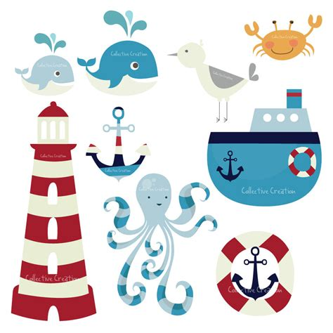 nautical theme nautical themed digital clip set by collectivecreation