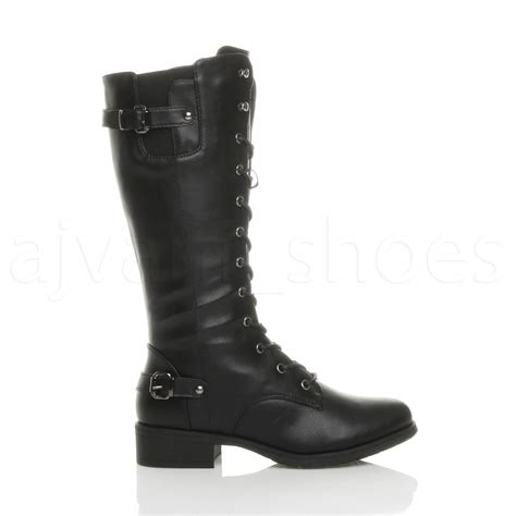 ladies biker boots womens ladies low heel lace up zip biker army combat